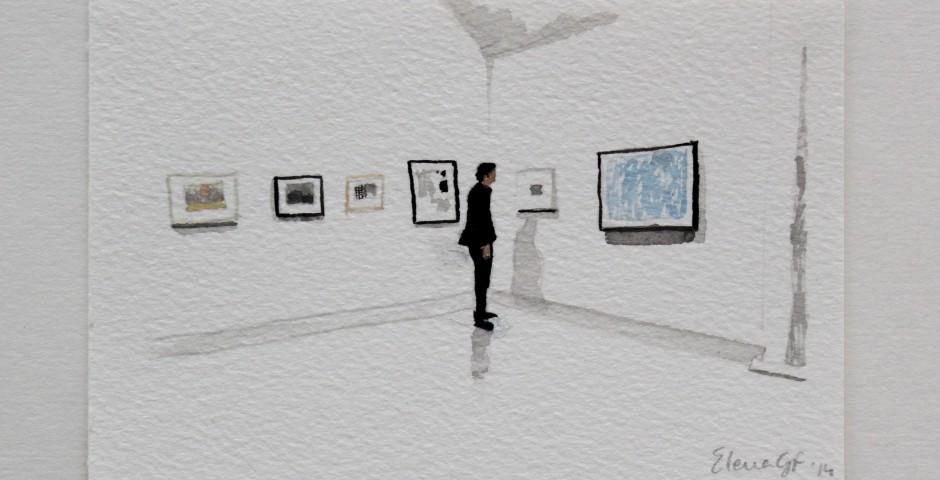 Man Looks at Blue Drawing, 20 x 25cm, £195